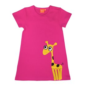 Cerise dress with giraffe