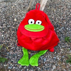 red back pack with frog