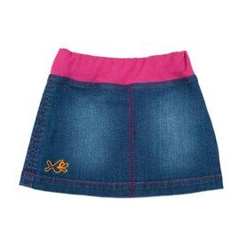 Blue denim skirt, cerise waistband