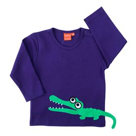 Lila tröja med krokodil (stl 104)
