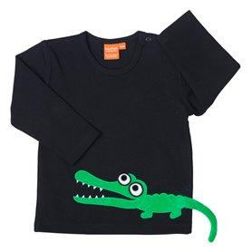 Svart tröja med krokodil