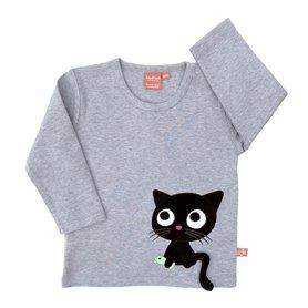 Gråmelerad ekologisk tröja med katt