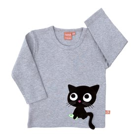 Grey melange organic shirt with cat