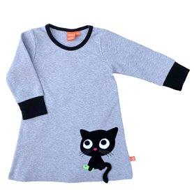 Grey melange organic dress with cat