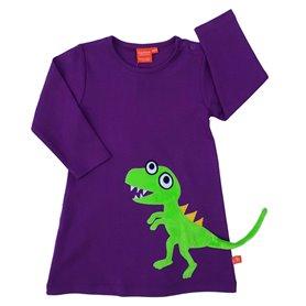 Lila klänning med dinosaurie
