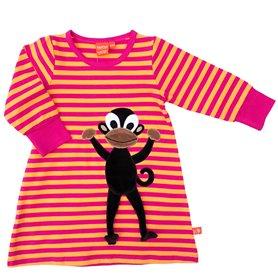 cerise/orange dress with monkey
