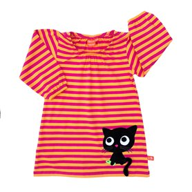 cerise/orange dress with cat