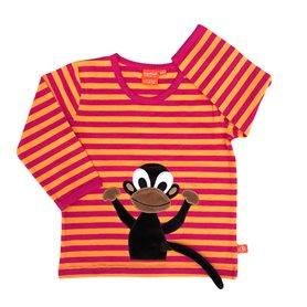 cerise/orange organic shirt with monkey