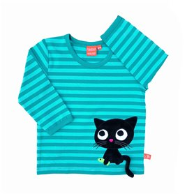 aqua striped organic shirt with cat