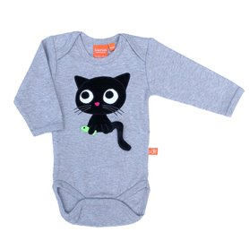 Grey melange organic body with cat