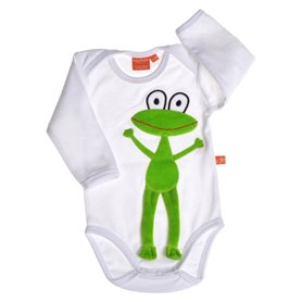 White body with frog, long sleeve