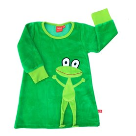 Green velour dress with frog