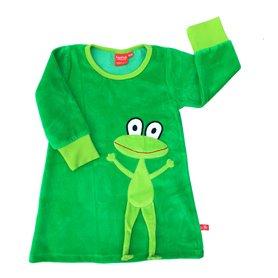 Grön velourklänning med groda