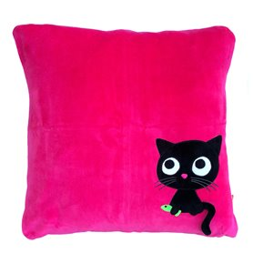 Cerise pillow cover with kitten
