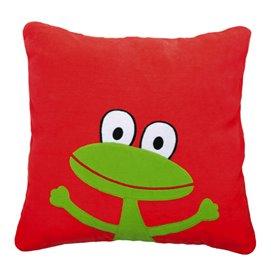 Röd kudde med groda