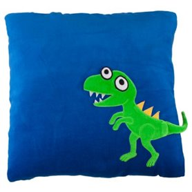 Blue pillow with dinosaur