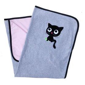 Gråmelerad/rosa filt med katt