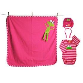 Baby gift-set (organic) - cerise frog