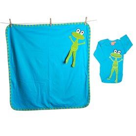 Baby gift-set  - turquoise frog