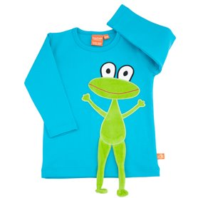 Turquoise shirt with frog