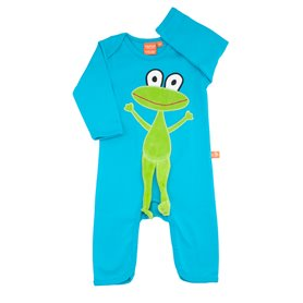 Turquoise jumpsuit with frog