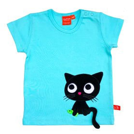 Mintblå T-shirt med katt