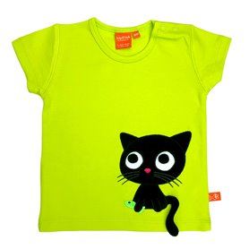 Lime green T-shirt with cat