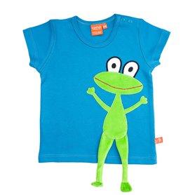 Blå T-shirt med groda (stl 116)