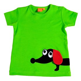 Green T-shirt with sausage dog