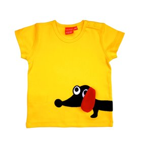 Yellow T-shirt with sausage dog