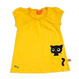 Gul klänning med katt