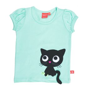 Mint top with cat