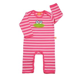 Baby pyjama with frog, striped pink