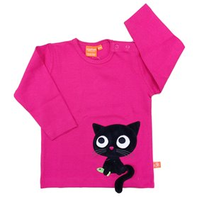Fuchsia shirt with cat