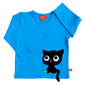Blue shirt with cat