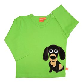 Green shirt with dog