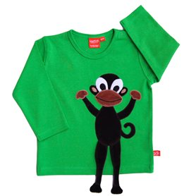 Green shirt with monkey
