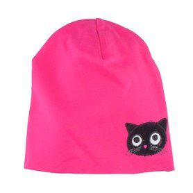 Pink cap with kitten