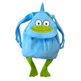 Turquoise back pack with frog