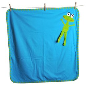 Turquoise organic blanket with frog