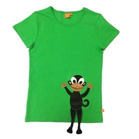 Rolig grön vuxen T-shirt med apa. Apans ben sticker ut. Perfekt för dej som vill sticka ut.