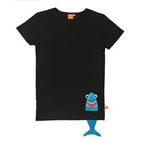 Svart T-shirt med haj (vuxen)