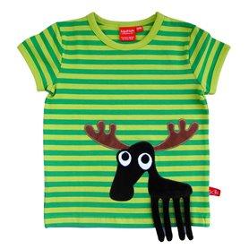Grönrandig T-shirt med älg