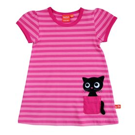 striped pink kitten dress