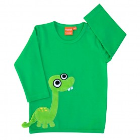 Green shirt with dinosaur