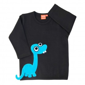 Black shirt with dinosaur
