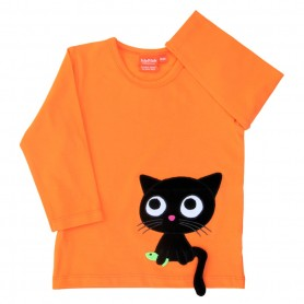 Orange shirt with cat