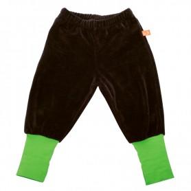 Brown velour pants, green wristlets
