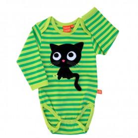 grönrandig body med katt (ekologisk)