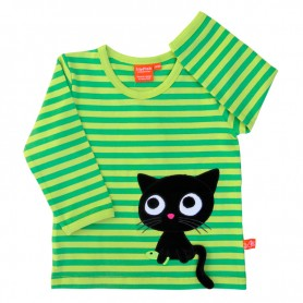 striped green organic shirt with cat